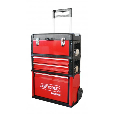 3-PART ROLLING TOOLBOX TROLLEY w/ TELECSCOPIC HANDLE