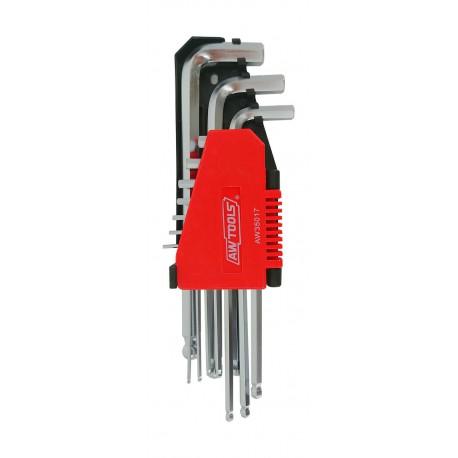 L-SHAPED HEX WRENCH KEY SET T10-T50 10pcs w/ KEY BALL END & LONG ARM