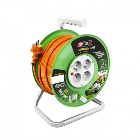 4-SOCKET EXTENSION CABLE REEL GREEN 40m 3x1.0mm 10A/ 2500W