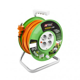 4-SOCKET EXTENSION CABLE REEL GREEN 10m 3x1.0mm 10A/ 2500W