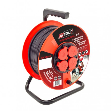4-SOCKET EXTENSION CABLE REEL RED 50m 3x1.5 mm 16A/ 3680W
