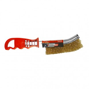 CRIMPED BRASS WIRE BRUSH 250mm w/ PLASTIC HANDLE