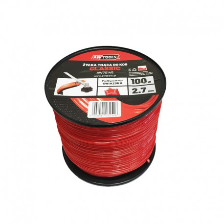 SQUARE TRIMMER LINE RED CLASSIC 2.7mm x100m SPOOL
