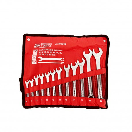 COMBINATION WRENCH SET 8-24mm 12pcs ROLL-UP POUCH