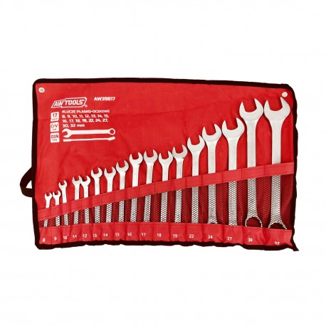 COMBINATION WRENCH SET 8-32mm 17pcs ROLL-UP POUCH