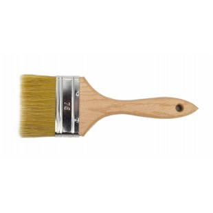 ENGLISH TYPE FLAT PAINT BRUSH 76mm w/ RAW WOODEN HANDLE