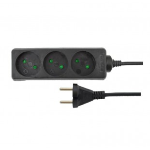 3-SOCKET EXTENSION LEAD BLACK 3.0m