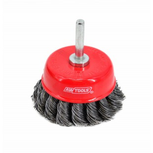 CUP WIRE BRUSH ON SPINDLE 75mm TWISTED KNOT
