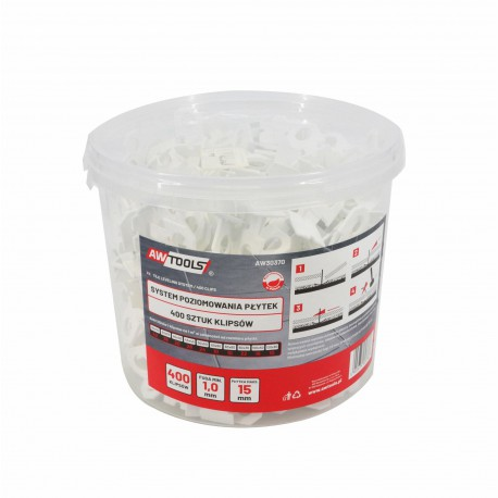 TILE LEVELING SYSTEM 1,0x15mm CLIPS 400pcs BUCKET